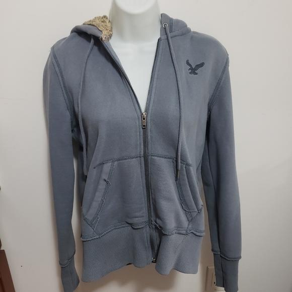American Eagle bluish gray hoodie